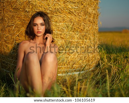 outdoors fashion portrait of sexy young woman sitting on a hay stack, facing the sunset