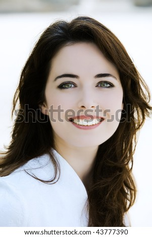 outdoors portrait of a expressive caucasian beautiful charming woman - stock photo