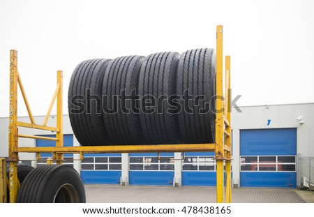 outdoors storage of brand new truck tires