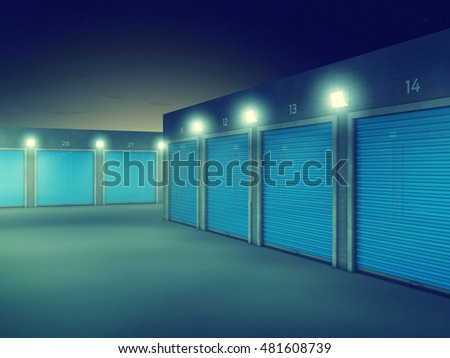 Outdoors storage units at night , Self storage facility , 3d illustration