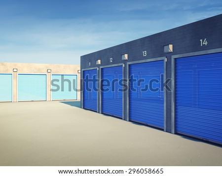 Outdoors storage units , Self storage facility - stock photo