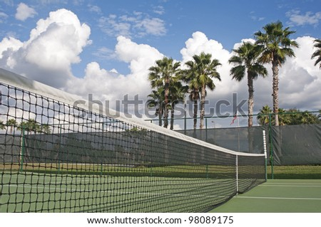 Outdoors tennis court on a sunny and cloudy day. Palm trees in background. - stock photo