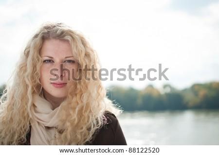 Outdoors woman portrait - stock photo