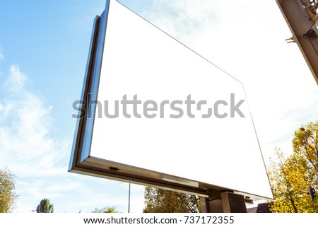 Outdors Modern Billboard Daytime Sun Flare Blank Isolated White Mockup Large City