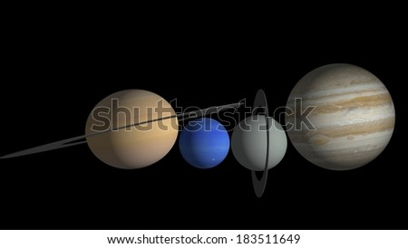 Outer planets: Elements of this image furnished by NASA.
