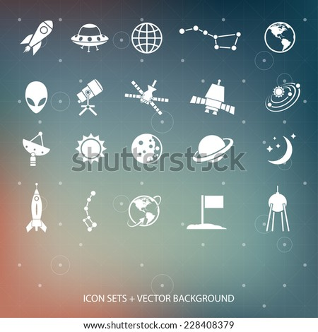 Outer space and air transport icons silhouettes. - stock photo