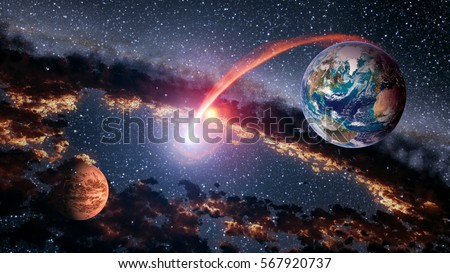 Outer space planet earth mars launch stock photo 567920737 for Outer space elements