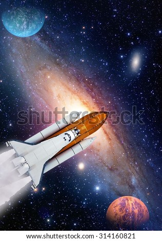 Outer space travel shuttle rocket launch spaceship spacecraft planet. Elements of this image furnished by NASA. - stock photo