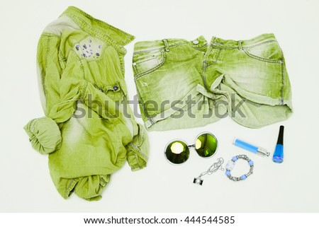 Outfit of young woman. Essentials for modern young lady. Different female accessories