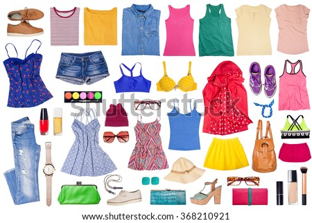Outfits of clothes and woman accessories, sport, casual and elegant. - stock photo