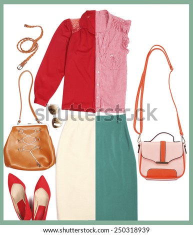 Outfits of woman clothes and accessories in collage - stock photo