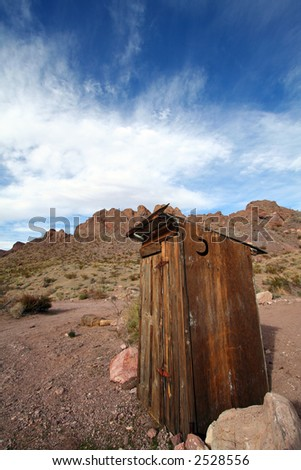 Outhouse in the Las Vegas Desert with Deep Blue Sky - stock photo