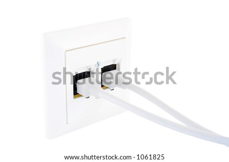 Outlet I, isolated on white - stock photo