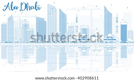 Outline Abu Dhabi City Skyline with Blue Buildings and Reflections. Business Travel and Tourism Concept with Modern Buildings.  Image for Presentation, Banner, Placard and Web. - stock photo