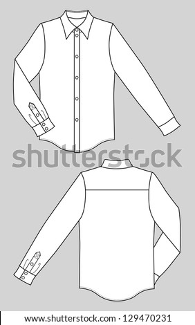 Outline black-white shirt (front and back) illustration isolated on grey