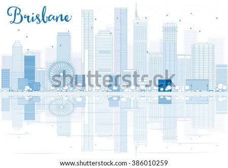 Outline Brisbane skyline with blue buildings and reflections. Business travel and tourism concept with place for text. Image for presentation, banner, placard and web site. - stock photo