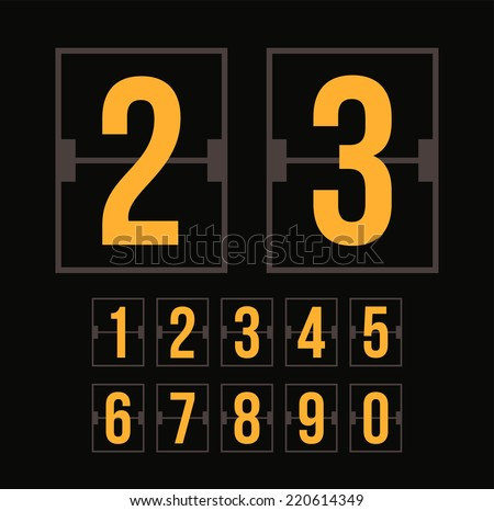 Outline countdown timer, white color flat mechanical scoreboard with different numbers - stock photo