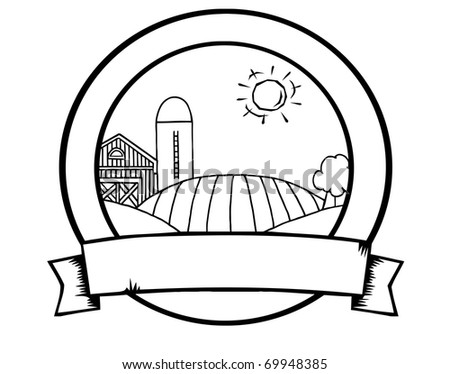 Outline Country Farm Banner - stock photo