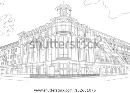 Outline drawing of the building in the center of the city. Modern European architecture. Drawing black lines on a white background. Sketch with many details. Constructivism. Russia, Rostov-on-Don, CUM - stock photo