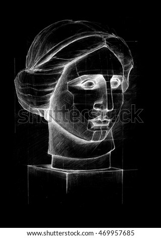 Outline drawing of the plaster head girl on a board chalk.