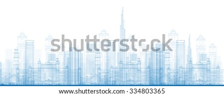 Outline Dubai City Skyscrapers in blue color. Business travel and tourism concept with modern buildings. Image for presentation, banner, placard and web site. - stock photo