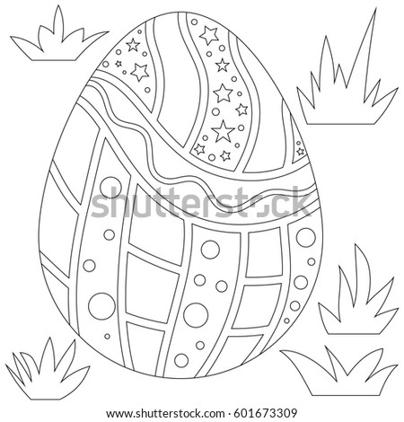 Outline Easter Egg and Grass Collection isolated over white background