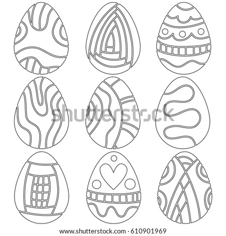 Outline Easter Egg Collection isolated over white background
