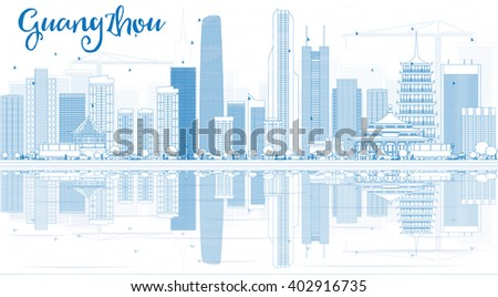 Outline Guangzhou Skyline with Blue Buildings and Reflections. Business Travel and Tourism Concept with Modern Buildings. Image for Presentation Banner Placard and Web Site.  - stock photo