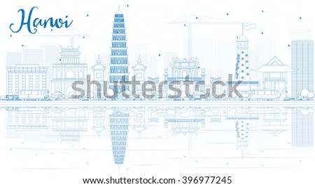 Outline Hanoi skyline with blue Landmarks and reflections. Business and tourism concept with copy space. Image for presentation, banner, placard or web site - stock photo