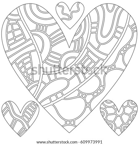 Outline heart collection isolated over white background