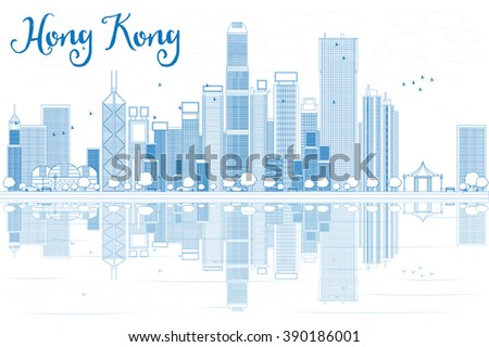 Outline Hong Kong skyline with blue buildings. Business travel and tourism concept with modern buildings. Image for presentation, banner, placard and web site.