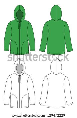 Outline hoodie illustration - stock photo