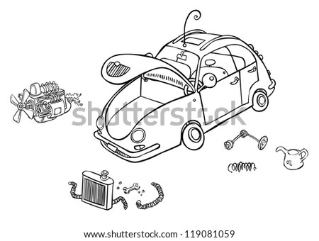 Outline Illustration of a Car with some parts. - stock photo