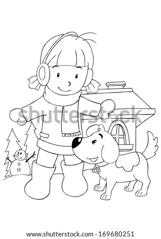 Outline illustration of a girl playing with dog - stock photo