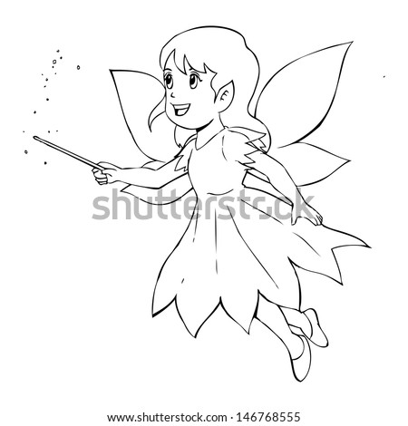 Outline illustration of a little fairy - stock photo