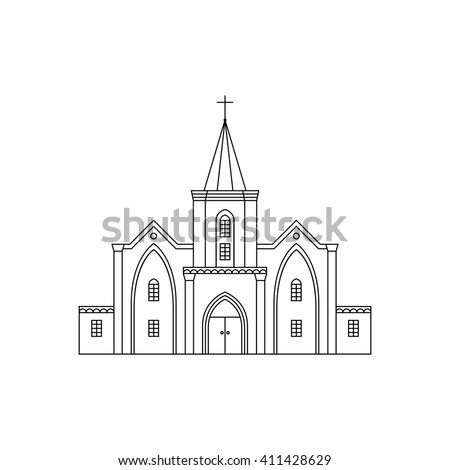 Outline illustration of building facade. Church viewed from front elevation. Coloring book page for adults and children. Black outline isolated on white. - stock photo