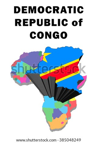 Outline map of Africa with Democratic Repulic of Congo raised and highlighted with the national flag