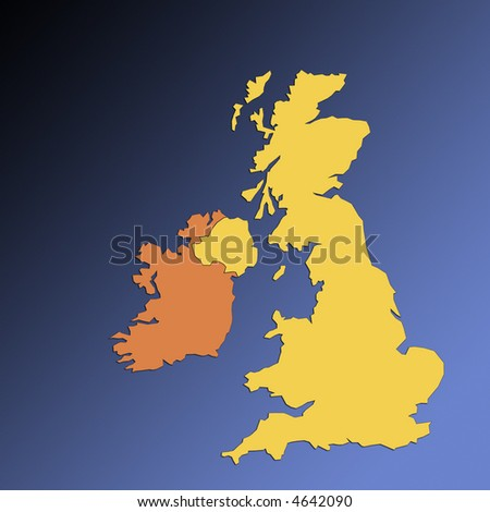 Outline map of British Isles and Eire on blue background