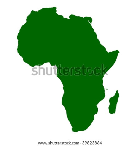 Outline map of continent of Africa isolated on white background with clipping path.