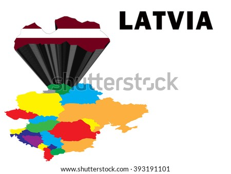Outline map of Eastern Europe with Latvia raised and highlighted with the national flag - stock photo