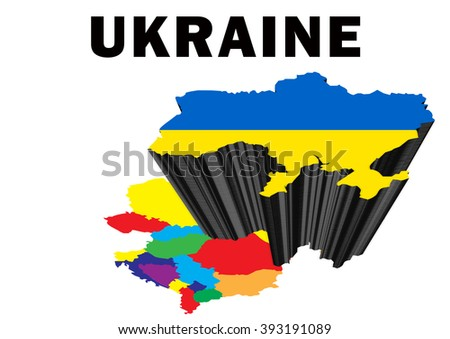 Outline map of Eastern Europe with Ukraine raised and highlighted with the national flag - stock photo