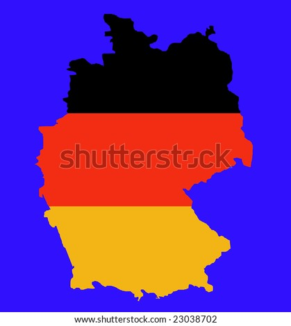 Outline map of Federal Republic of Germany in colors of flag, isolated on blue background.