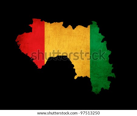 Outline map of Guinea with flag and grunge paper effect