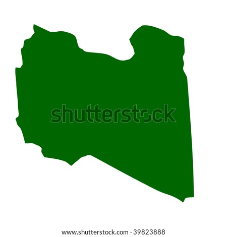 Outline map of Libya isolated on white background with clipping path.