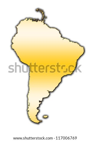 Outline map of South America covered with gradient - stock photo