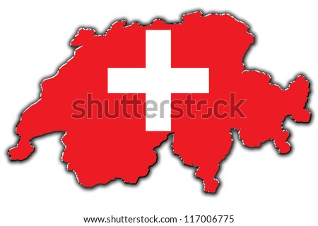 Outline map of Switzerland covered in Swiss flag
