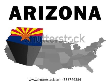 Outline Map United States State Arizona Stock Illustration 386794384