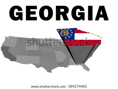 Outline map of the United States with the state of Georgia raised and highlighted with the state flag