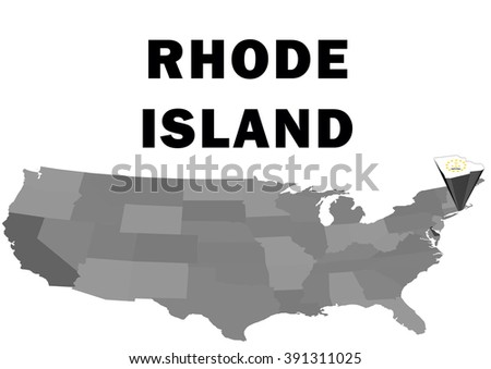 Outline Map Of The United States With The State Of Rhode Island Raised And Highlighted With