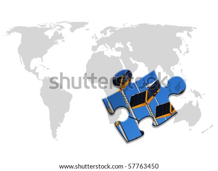 Outline map of world with solar panel jigsaw piece